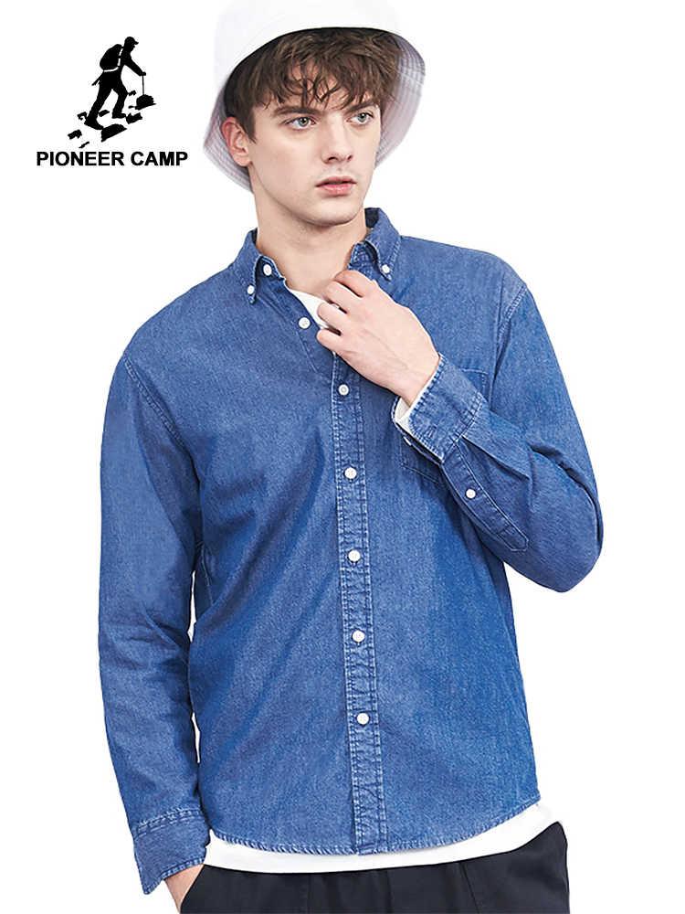 Пионерский лагерь Мужская рубашка с длинным рукавом известная брендовая одежда темно-синяя однотонная джинсовая рубашка мужская качественная 100% хлопок Повседневная ACC803451