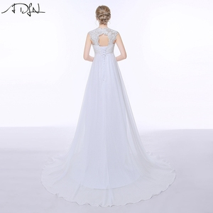 Image 2 - ADLN Elegant Chiffon Beach Wedding Dresses Simple Empire Sweep Train Open Back Boho Plus Size Bridal Gown for Pregnant Woman