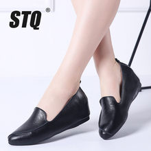 STQ 2020 Autumn Women Ballerina Flats Shoes Women Genuine Leather Shoes Slip On Loafers Women High Increase Heel Shoes 1188