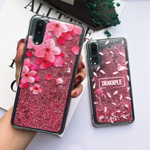 Cute Glitter Pink Heart Liquid Cover Flamingo Pattern Quicksand Cases For Huawei P10 P20 Mate 10 20 Lite Pro Honor 8X 9