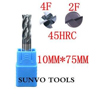 Image 4 - 2 stks 4/2 fluiten 10x75mm HRC45 HRC50 HRC55 HRC60 10mm CNC Tungsten Carbide End Mill R5 ball end Frees Aluminium frees