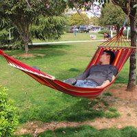 150kg Capacity Hammock Canvas Fabric Double Spreader Bar Hammock Outdoor Camping Swing Hanging Bed Portable Hammock