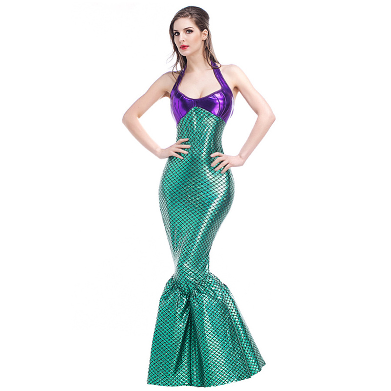 M-XL Sexy de luxe sirène queue jupe Halloween coquille adulte Ariel princesse Cosplay Costume Sexy femmes mascarade fantaisie robe de soirée