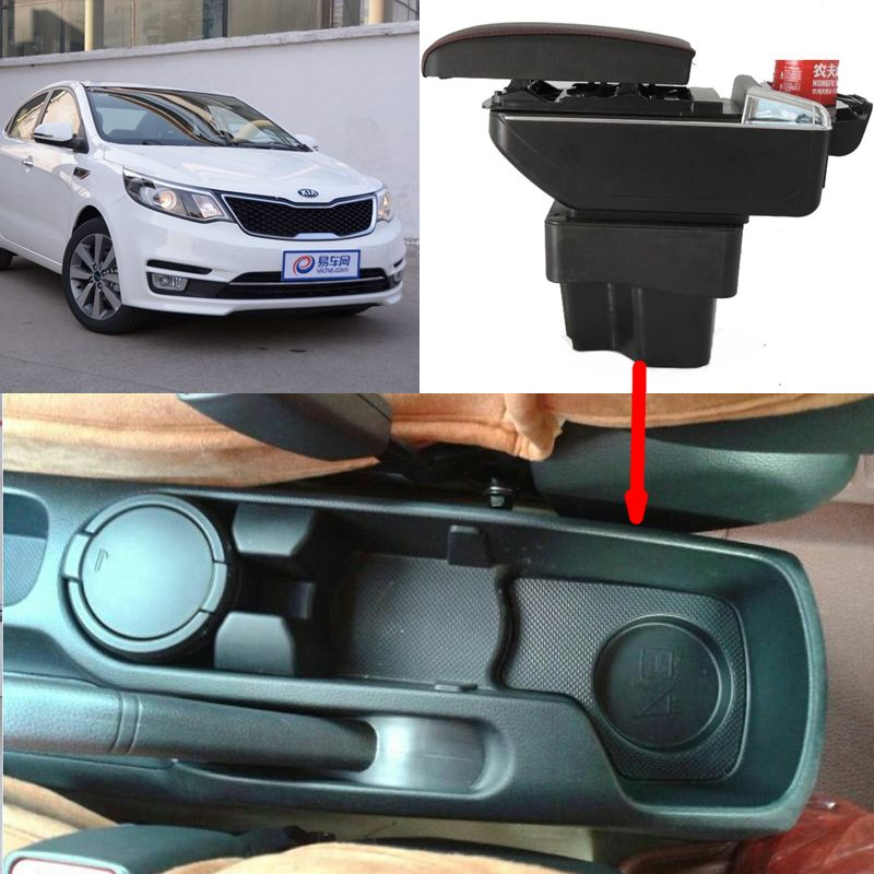 For KIA Rio 2 armrest box central Store content Storage box kia armrest box with cup holder ashtray products USB interface for chery tiggo 2 3x 2016 2017 2018 armrest box central store content box with cup holder ashtray decoration with usb interface