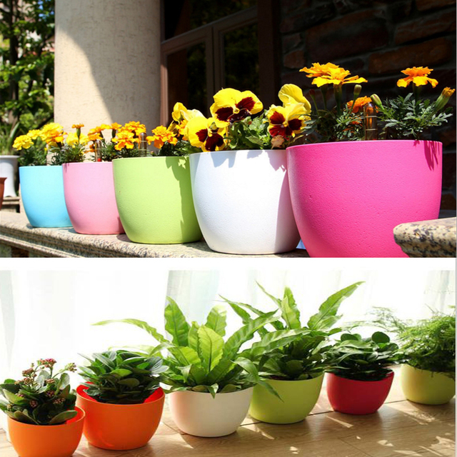 petit en plastique bleu pots de fleurs vertical jardin d coration auto mini arrosage pot plante. Black Bedroom Furniture Sets. Home Design Ideas