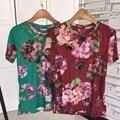 Crop Top 2017 High-end Custom Retro Flower Print Heavy Bees Beading Cotton Short-sleeved T-shirt RM-192