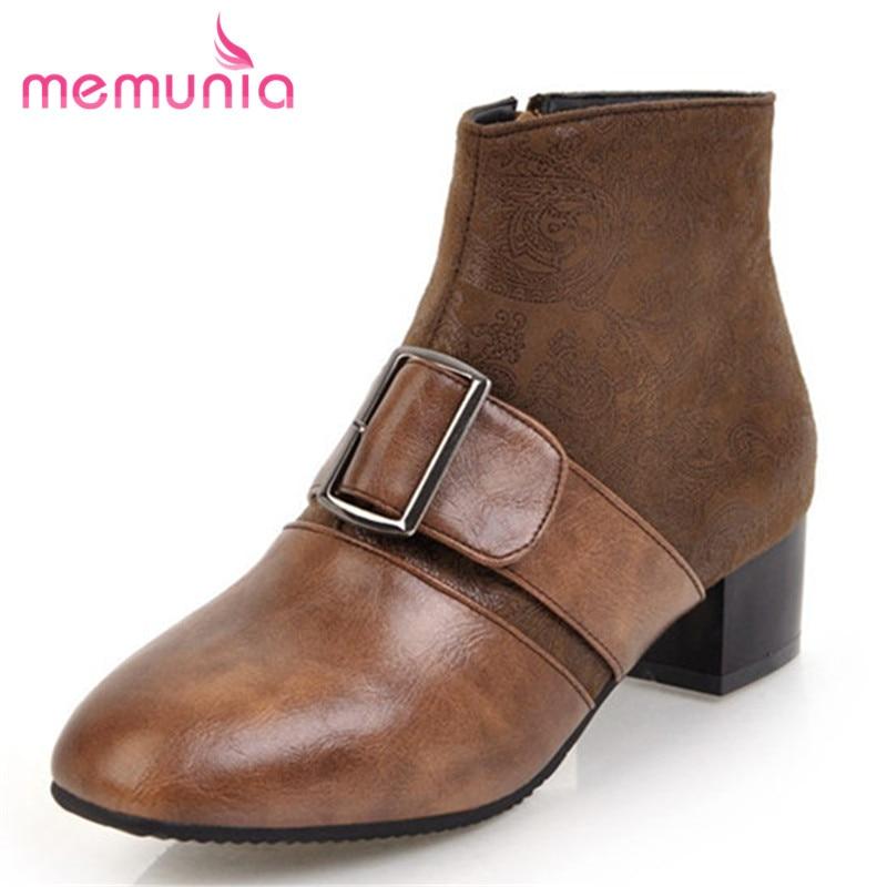 MEMUNIA big size 31 45 winter boots med heels round toe
