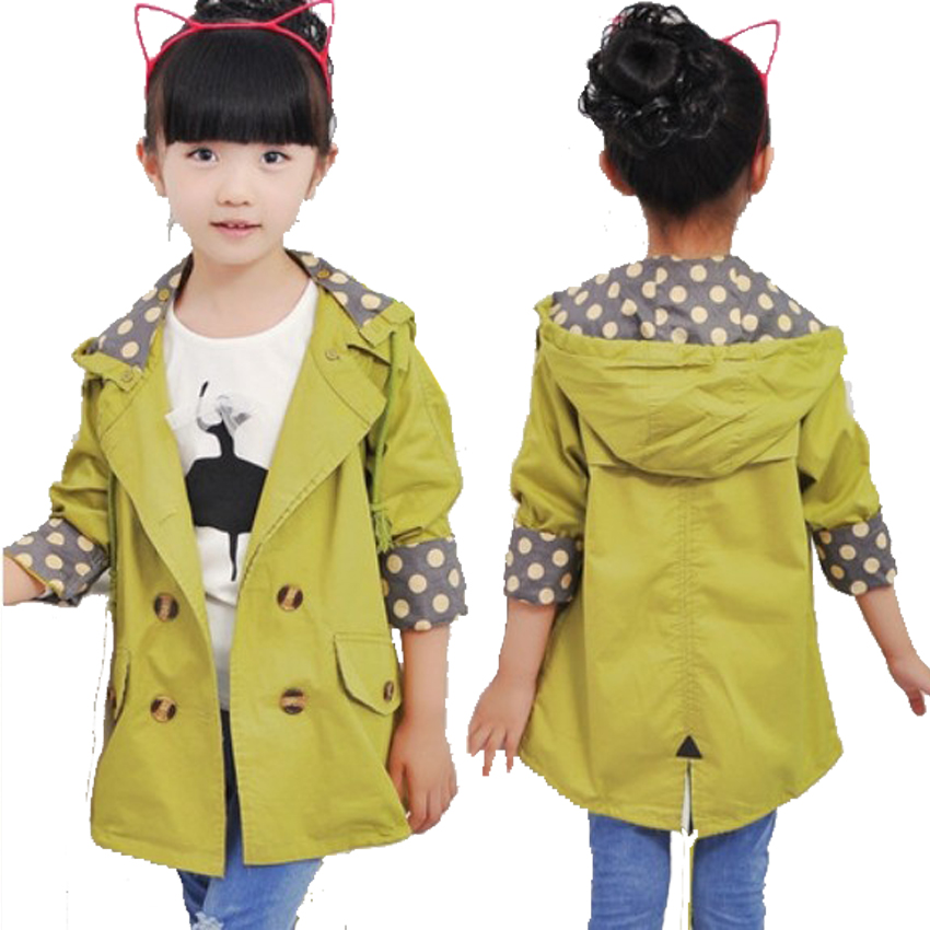 купить girls jacket children's clothing big kids spring & autumn child medium-long double breasted baby outerwear girl trench coat по цене 1109.72 рублей