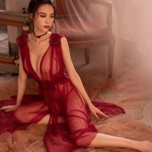 Image 5 - Camisón largo bordado con encaje de gasa para mujer, Sexy, lencería
