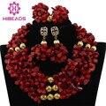 Красное Коралловое Ожерелье Набор для Женщин Костюм Коралловые Бусы Невеста Невесты Нигерии Свадьба Африканские Коралловые Бусы Комплект Ювелирных Изделий CNR421