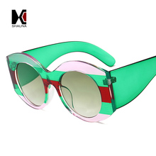 SHAUNA Oversize Mixed Colors Frame Women Round Sunglasses Trending Men Green Gradient Lens Shades UV400