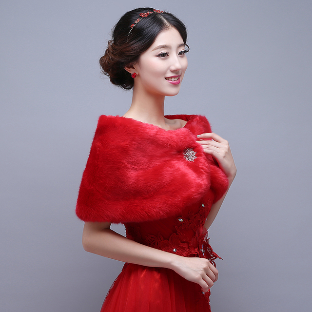 884c6f42765 Gorgeous Red Beaded Crystals Red Fuax Fur Weddidng Jacket Wraps Short  Formal Dresses Winter Bridal Coats