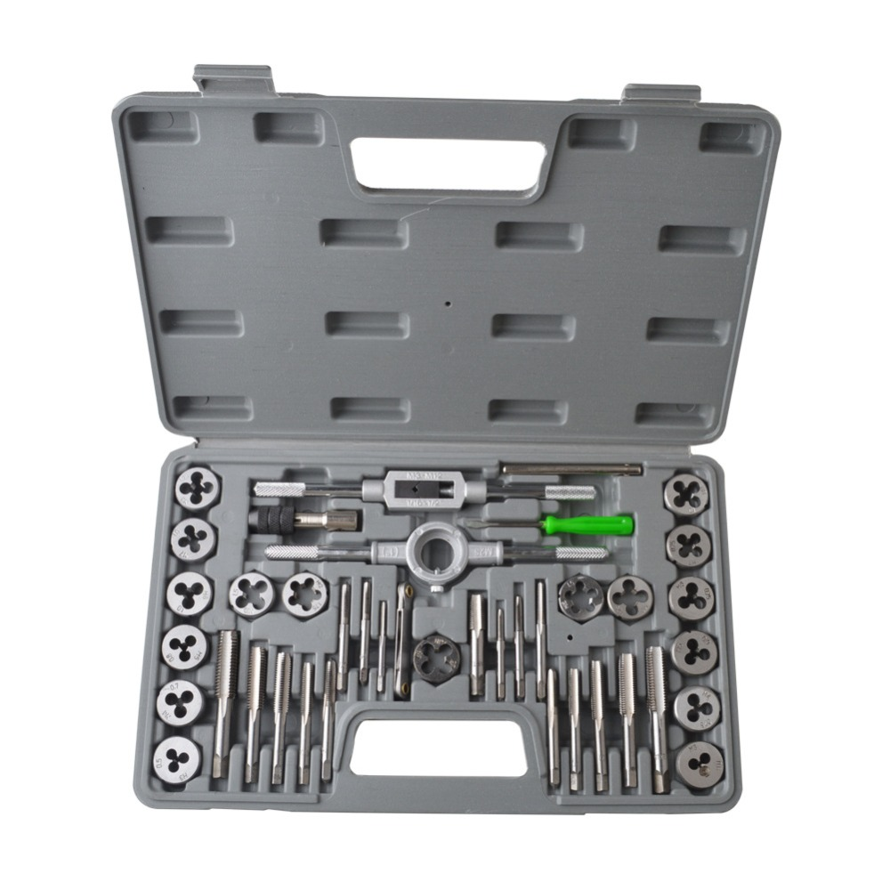 40Pcs Adjustable Metric Tap Die Holder Thread Gauge Wrench Tools With Plastic Case T-handle Tap Holder For Threading Repair