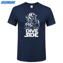 JOIN THE DIVE SIDE DARK Underwater Funny Printed T Shirt Cotton Short Sleeve O-Neck Mens Clothing Brand Top Tee-Shirt Plus Size