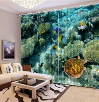 Cool underwater world Window Curtains Photo coral turtle Blackout Curtain For Bedroom Model Home Curtains