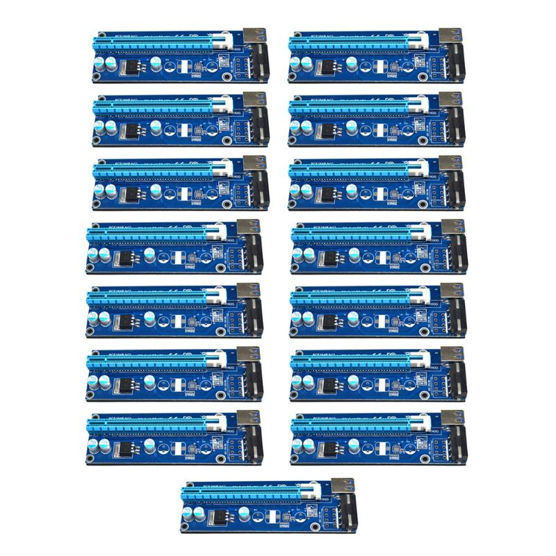 15pcs/lot USB 3.0 PCI-E Express 1x 16x Extender Riser Card Adapter Power Cable for Bitcoin Miner Mining 50cm pci e pci e express 1x to 16x graphics card riser card usb 3 0 extender cable with power supply for bitcoin litecoin miner
