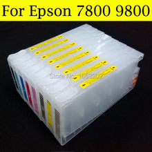 Wide format ink cartridge for epson 7800 7800XL cartridge Dye,Pigment for Epson printer with 7800 9800 chip resetter good cartridge for epson 9600 7600 printer with t5441 t544 544 ink cartridge and chip resetter