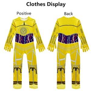 Image 2 - Combinaisons de film pour enfants, Costumes Star Wars, Robot Cosplay, fournitures de fête et dhalloween, couvre chef Robot C 3PO pour garçons