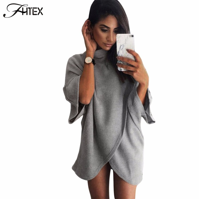 Elegant Turtleneck Medium Long T Shirt Women Solid Color Irregular Autumn Casual Loose Tops Tees Cape Style T Shirt