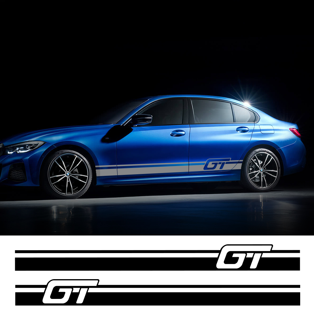 2pcs Car Side Sticker For Audi BMW Ford Volkswagen Toyota Renault Peugeot  Auto Vinyl Film Racing Decal Car Tuning Accessories