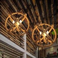 Retro industry Loft Nordic wicker 35CM 75CM pendant lights hemp clothing store lighting Cafe bar dining decoration lamp lo1030