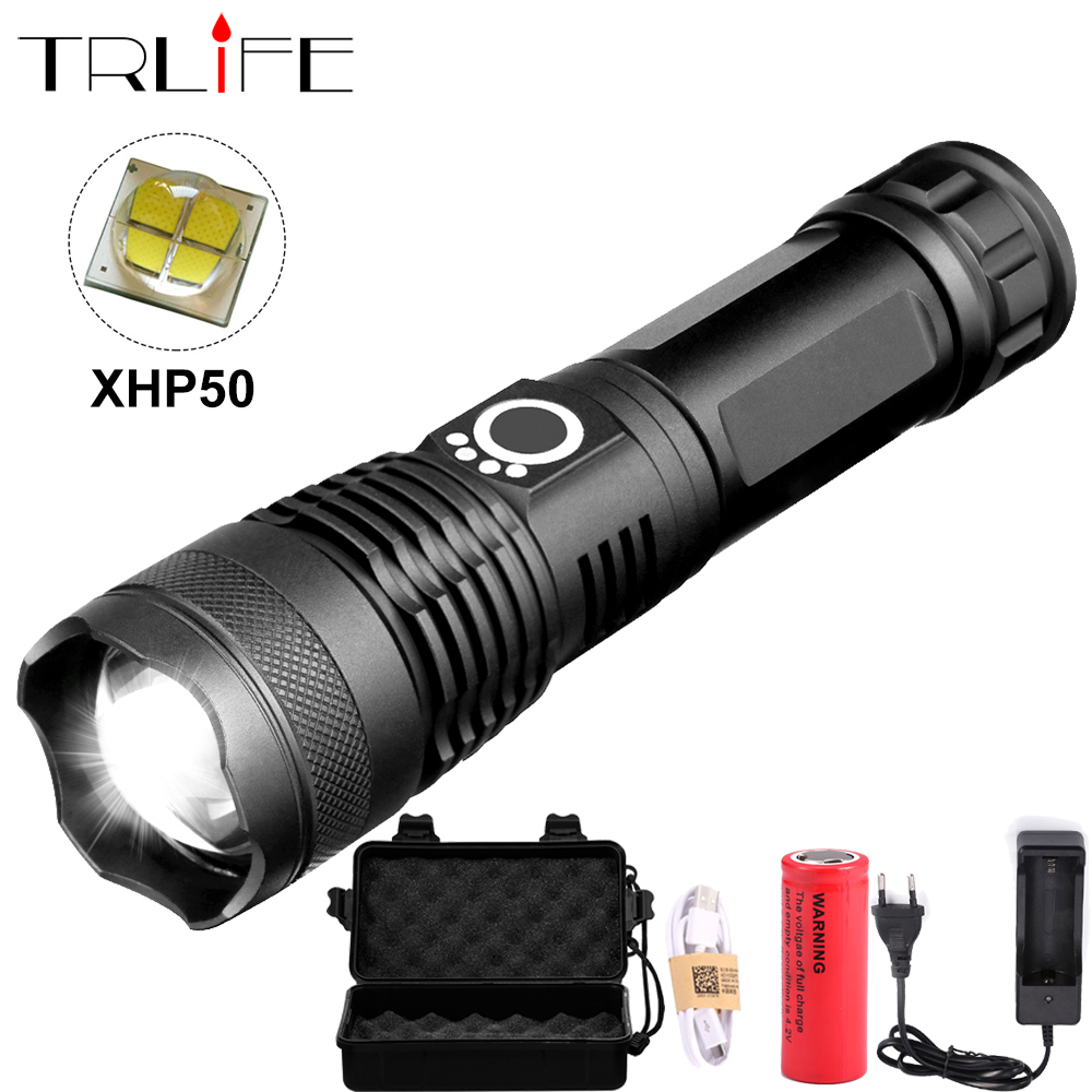 40000 XHP50.2 LED Tactical Most Powerful Flashlight LED Torch Hunting FlashLights 26650 Waterproof USB Rechargeable Lantern Led