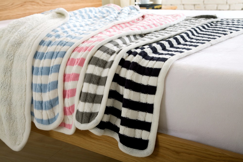 Stripe On The Sofa Thickening Knitting Knee Throw Blanket for Bed/Home Cover Quilt Winter Thread Linens New Years product