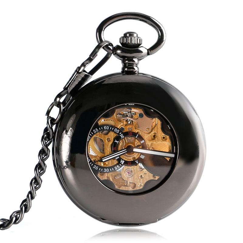 купить Classic Black Smooth Mechanical Automatic Self-wind Pocket Watch Skeleton Luxury Fob Watches Men Women Gift Relogio De Bolso по цене 828.65 рублей