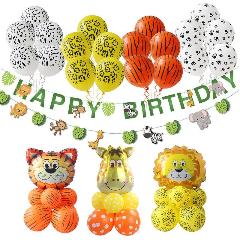 Jungle Party Safari Party Animal Tiger Lion Monkey Zebra Cow Giraffe Helium Balloons Zoo Theme Birthday Party Decorations Kids