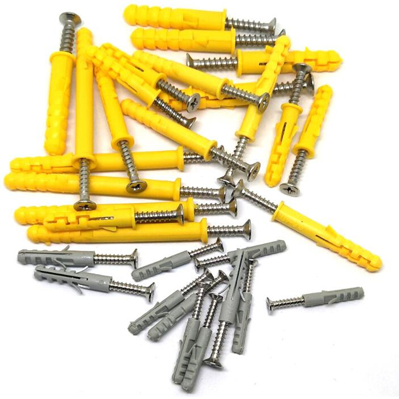 M6x60mm Self Drilling Screws Yellow Wall Expansion Tube Plastic Expansion Pipe with Screws Kit for Concrete Drywall Anchor Wall Plug Frame Fixing Curtains Rods Ect,50PCS