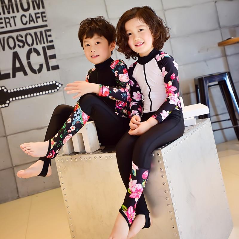 Children Swimming Clothes 2017 Girl Boy Sports Swimsuit Long Sleeve One-piece Swimwear Kids Swimming Suit Professional Swimwear