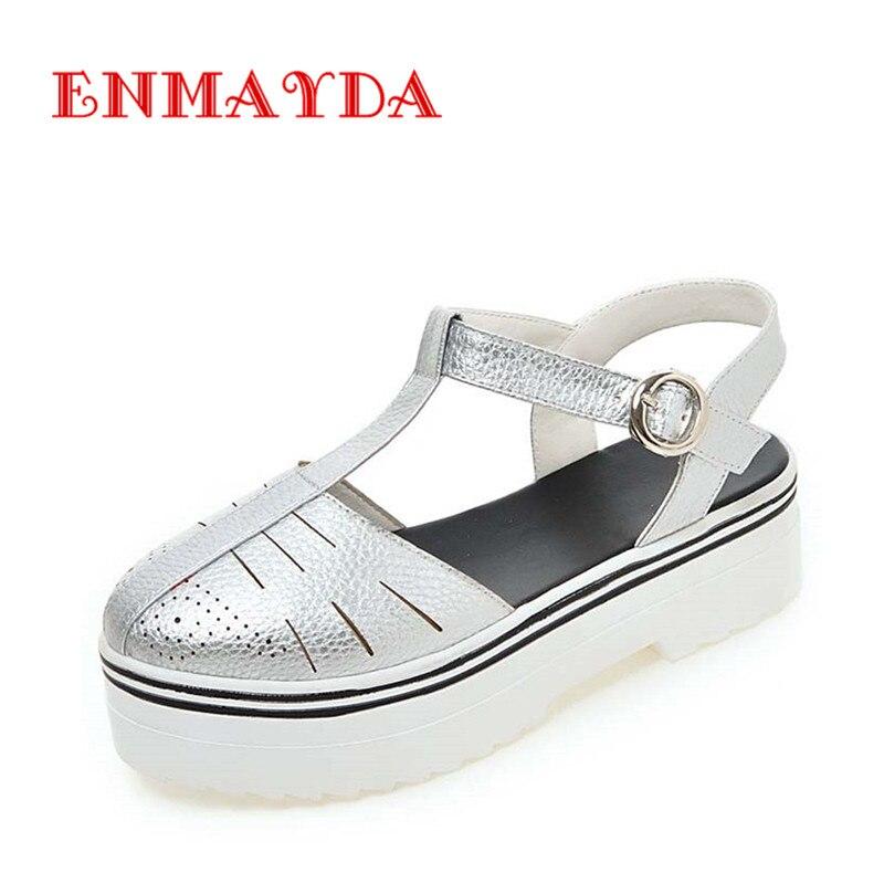 ФОТО ENMAYDA Summer Shoes T-Strap Fashion Close Toe Buckle Strap Big Size 34-43 Flats Casual  Platform Women Sandals