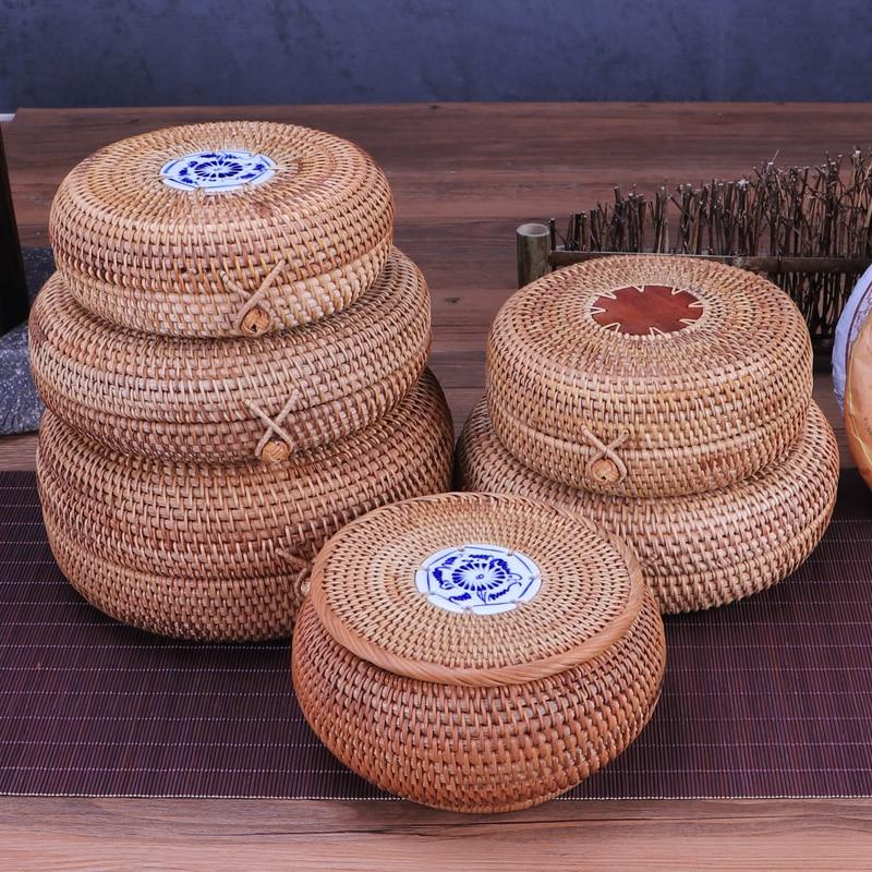 Round Storage Box Puer Tea Box Make Up Organizer Casket Handmade Rattan Weaving Container Chest Jewelry Case Candy