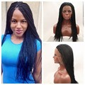 High quality African American black color kanekalon braiding synthetic lace front wigs for black women full head braided wig