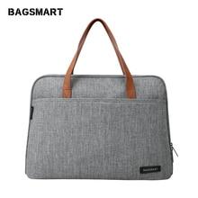 BAGSMART 14 inç dizüstü evrak çantası su geçirmez Laptop çantası hafif postacı çantası rahat çanta moda naylon