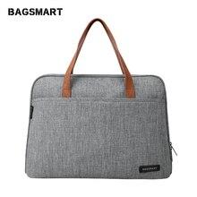 BAGSMART 14 นิ้วแล็ปท็อปกันน้ำแล็ปท็อปกระเป๋าน้ำหนักเบากระเป๋าเดินทางกระเป๋าถือแฟชั่นไนลอน