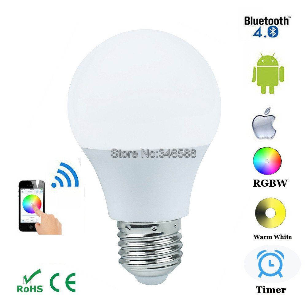 Magic Blue 4.5W E27 RGBW Led Light Bulb Bluetooth 4.0 Smart Lighting Lamp Color Change Dimmable for Home Hotel AC85-265V szyoumy e27 rgbw led light bulb bluetooth speaker 4 0 smart lighting lamp for home decoration lampada led music playing
