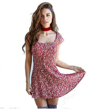 Retro Cute Floral Print Short Backless Beach Dress