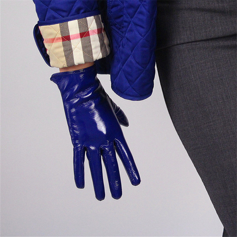21cm Patent Leather Gloves Short Style Emulation Leather Mirror Bright Royal Blue Dark Blue Cobalt Blue Touchscreen Black WPU93