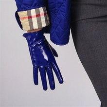 цена на 21cm Patent Leather Gloves Short Style Emulation Leather Mirror Bright Royal Blue Dark Blue Cobalt Blue Touchscreen Black WPU93