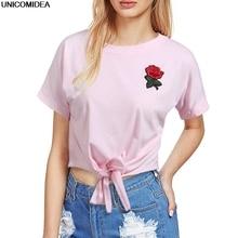New Fashion Women T Shirt Summer Kawaii Embroidery Rose Aliens T-Shirts Harajuku Casual Tops Tees Female T shirt T-shirt Russia