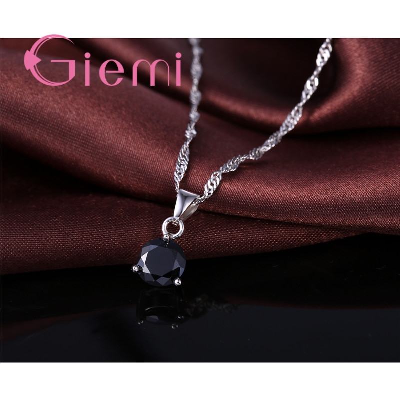 8 Colors 925 Sterling Silver Wedding Elegant Jewelry Sets Crystal Pendant Collar Necklace Earrings Women Decoration Set 2