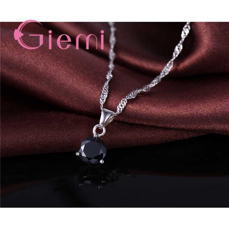 8 farben 925 Sterling Silber Hochzeit Elegante Schmuck Sets Kristall Anhänger Kragen Halskette Ohrringe Frauen Dekoration Set