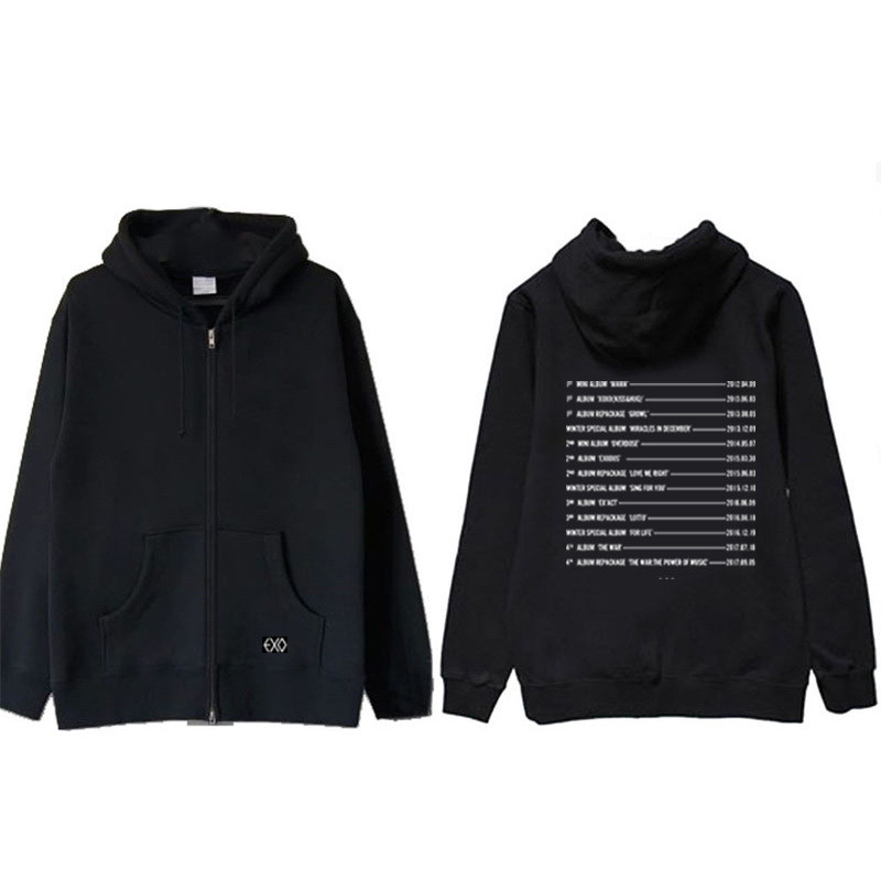 Kpop EXO The Elyxion Album Hoodie Hip Hop Casual Cotton Zipper Hoodies With Hat Printed Long Sleeve Sweatshirts WY601 Рубашка