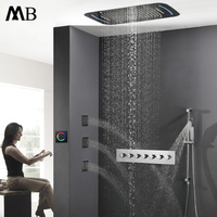 Luxury Rainfall Ceiling Shower Head LED Shower Set Faucets Tap Shower Thermostatic Mixer Valve Big Waterfall Showers Slide Bar