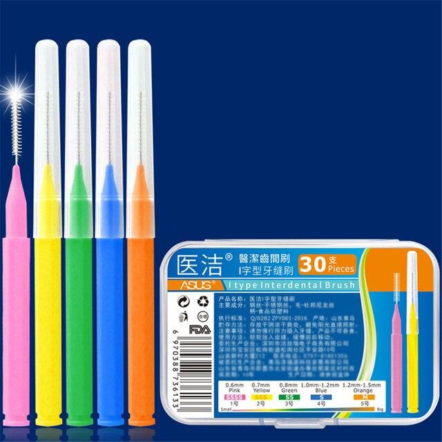 30 piezas en forma de L cepillo Interdental Denta hilo dental limpiadores interdentales ortodoncia dental cepillo de dientes palillo de dientes Oral herramienta de cuidado
