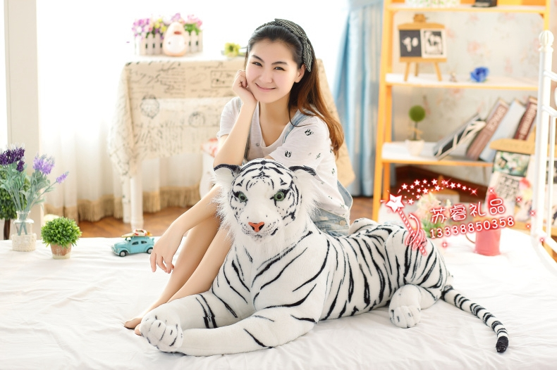 large animal white tiger plush toy about 110cm prone tiger birthday gift  w9997 stuffed animal 110cm plush tiger toy about 43 inch simulation tiger doll great gift free shipping w018