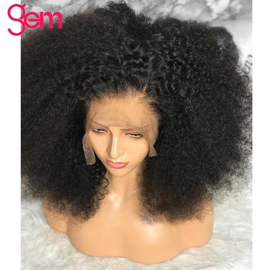 Afro Kinky Curly Wig Pre Plucked Lace Front Human Hair Wig For Women GEM Mongolian Remy