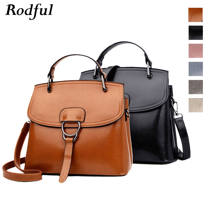 Rodful brown black shoulder messenger bag women's ladies genuine leather handbags vintage light blue hand bags sac a main femme