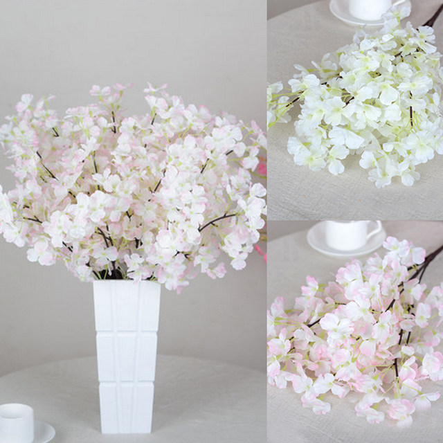 Online Shop 5 Heads Cherry Blossom Plastic+Silk Quality Artificial ...